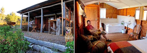 Caseys self catering cabin from exterior interior.