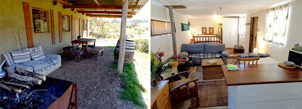 Hog house self catering accommodation inside and outside.