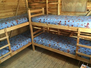 Geoff's shack bunk beds.